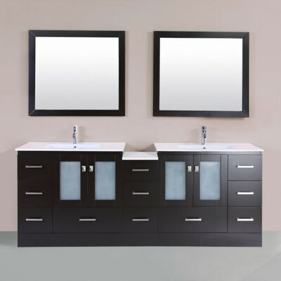 Terese Modern 83 Double Bathroom Vanity Set with Mirror Base Finish: Espresso