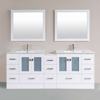 Terese Modern 83 Double Bathroom Vanity Set with Mirror Base Finish: White