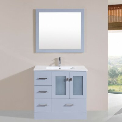 Lapoint Modern 36 Single Bathroom Vanity Set with Mirror Base Finish: Gray