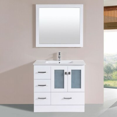 Lapoint Modern 36 Single Bathroom Vanity Set with Mirror Base Finish: White
