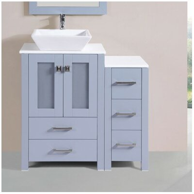 Lyn Modern Side Cabinet 36 Single Bathroom Vanity Set Base Finish: Gray
