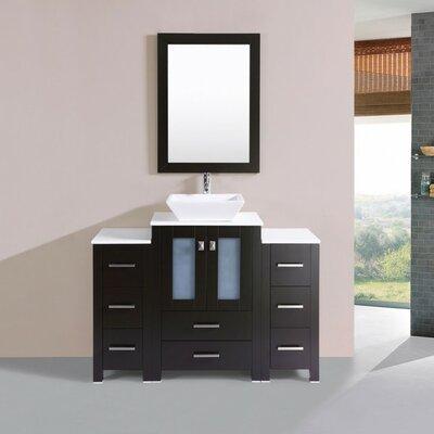 Lyn Modern 48 Single Bathroom Vanity with Mirror Base Finish: Espresso