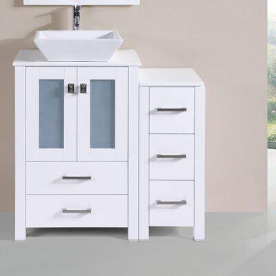 Lyn Modern Side Cabinet 36 Single Bathroom Vanity Set Base Finish: White