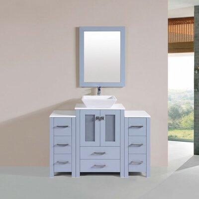 Lyn Modern 48 Single Bathroom Vanity with Mirror Base Finish: Gray