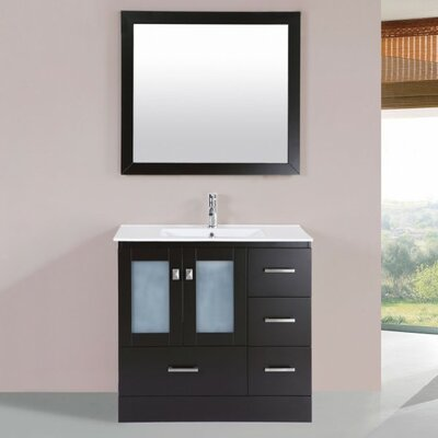 Terese Modern 36 Single Bathroom Vanity Set with Mirror Base Finish: Espresso