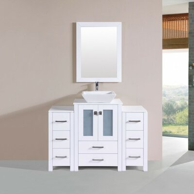 Lyn Modern 48 Single Bathroom Vanity with Mirror Base Finish: White