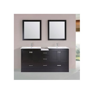 Luci Modern 72 Double Bathroom Vanity Set with Mirror Base Finish: Espresso