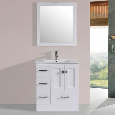Luci Modern 30 Single Bathroom Vanity Set with Mirror Base Finish: White