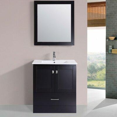 Luci Modern 30 Single Bathroom Vanity Set with Mirror Base Finish: Espresso