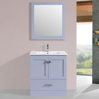 Landrum Modern 30 Single Bathroom Vanity Set with Mirror Base Finish: Gray