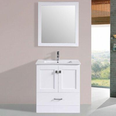 Landrum Modern 30 Single Bathroom Vanity Set with Mirror Base Finish: White