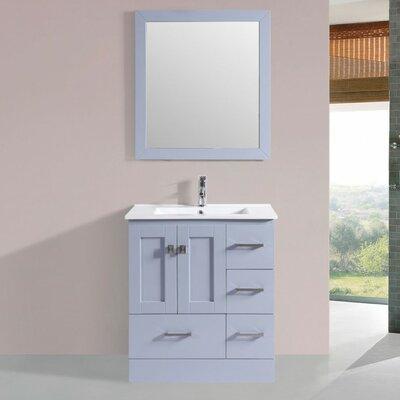 Luci Modern 30 Single Bathroom Vanity Set with Mirror Base Finish: Gray