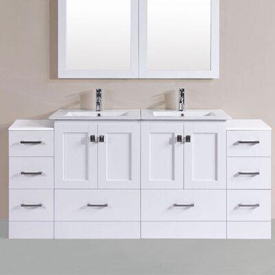 Luci Modern 72 Double Bathroom Vanity Set Base Finish: White