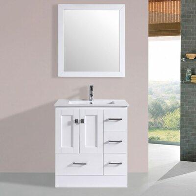 Luci Modern 30 Single Bathroom Vanity Set with Mirror Base Finish: White