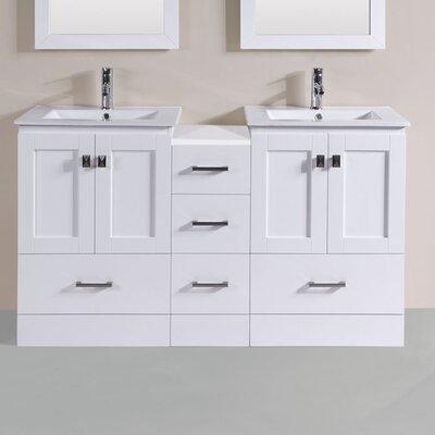 Luci Modern 60 Double Bathroom Vanity Set Base Finish: White