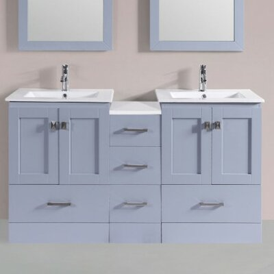 Luci Modern 60 Double Bathroom Vanity Set Base Finish: Gray
