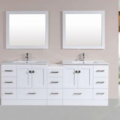 Luci Modern 83 Double Bathroom Vanity Set with Mirror Base Finish: White