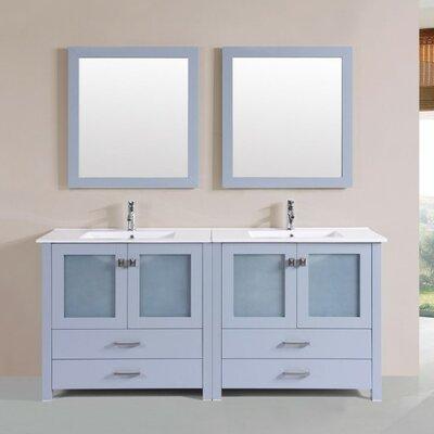 Lyn Modern 72 Double Bathroom Vanity Set with Mirror Base Finish: Gray