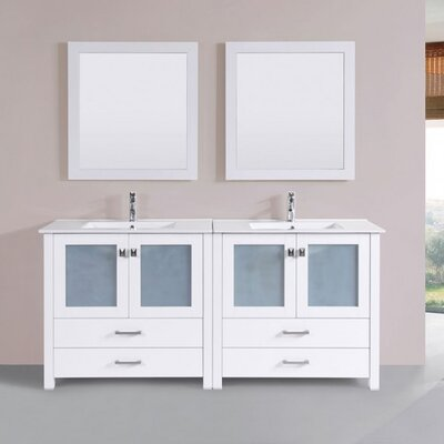 Lyn Modern 72 Double Bathroom Vanity Set with Mirror Base Finish: White