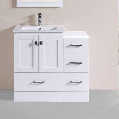 Luci Modern 6 Single Bathroom Vanity Set Base Finish: White