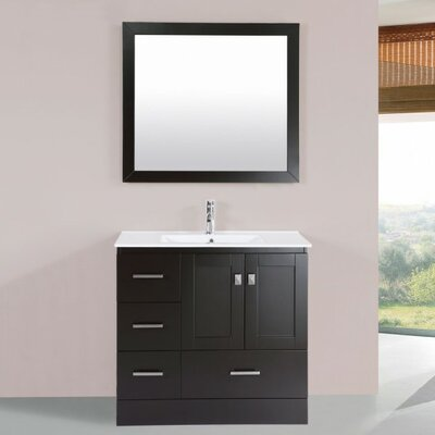 Luci Modern 36 Single Bathroom Vanity Set with Mirror Base Finish: Espresso