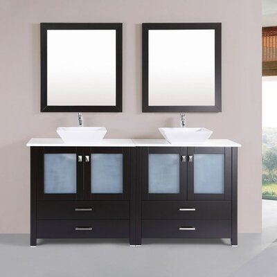 Lyn Modern 71 Double Bathroom Vanity Set with Mirror Base Finish: Espresso