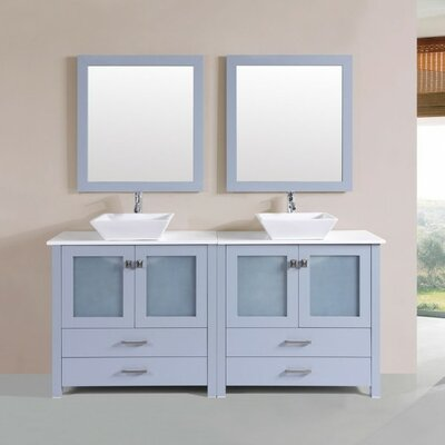 Lapp Modern 71 Double Bathroom Vanity Set with Mirror Base Finish: Gray