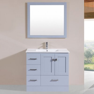 Luci Modern 36 Single Bathroom Vanity Set with Mirror Base Finish: Gray