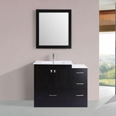 Luci Modern 42 Single Bathroom Vanity Set with Mirror Base Finish: Espresso