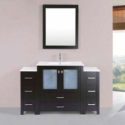 Lyn Modern 54 Single Bathroom Vanity Set with Mirror Base Finish: Espresso