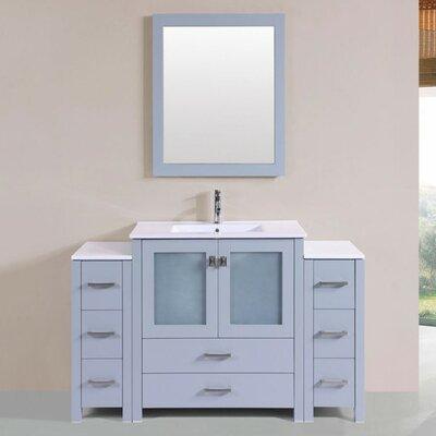 Lyn Modern 54 Single Bathroom Vanity Set with Mirror Base Finish: Gray