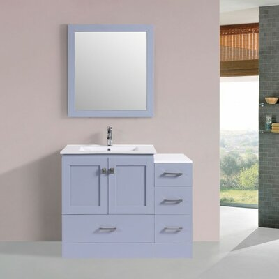 Luci Modern 42 Single Bathroom Vanity Set with Mirror Base Finish: Gray