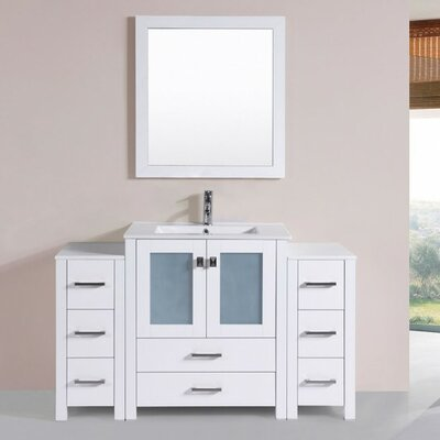 Lyn Modern 54 Single Bathroom Vanity Set with Mirror Base Finish: White