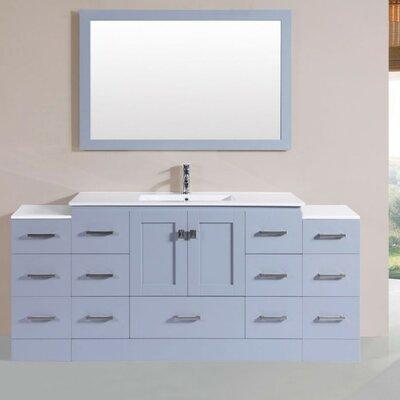 Luci Modern 72 Single Bathroom Vanity Set with Mirror Base Finish: Gray