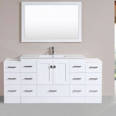Luci Modern 72 Single Bathroom Vanity Set with Mirror Base Finish: White