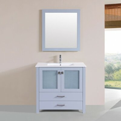 Lyn Modern 36 Single Bathroom Vanity Set with Mirror Base Finish: Gray