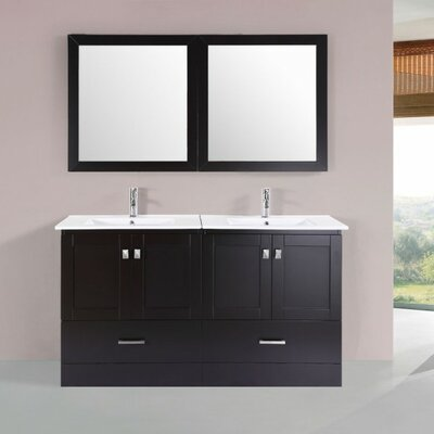 Luci Modern 60 Double Bathroom Vanity Set with Mirror Base Finish: Espresso