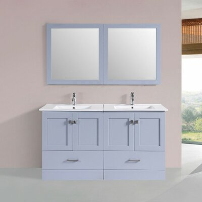 Landrum Modern 60 Double Bathroom Vanity Set with Mirror Base Finish: Gray