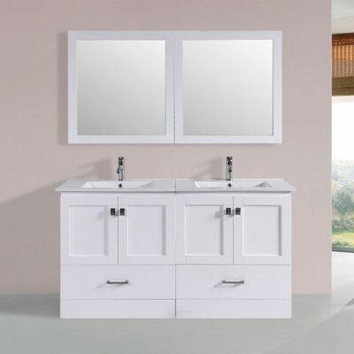 Landrum Modern 60 Double Bathroom Vanity Set with Mirror Base Finish: White