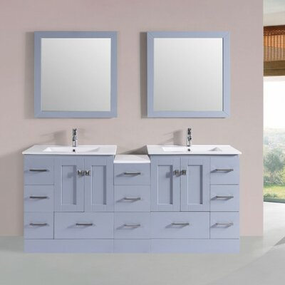 Luci Modern 72 Double Bathroom Vanity Set with Mirror Base Finish: Gray