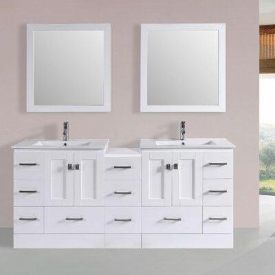 Luci Modern 72 Double Bathroom Vanity Set with Mirror Base Finish: White