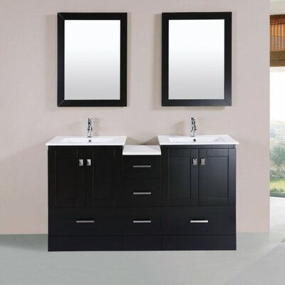 Luci Modern 60 Double Bathroom Vanity Set with Mirror Base Finish: Espresso
