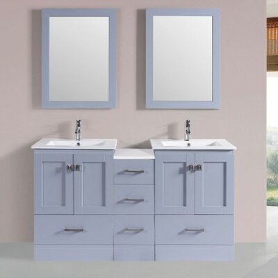 Luci Modern 60 Double Bathroom Vanity Set with Mirror Base Finish: Gray