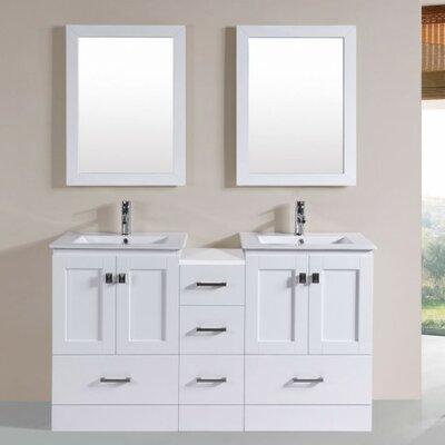 Luci Modern 60 Double Bathroom Vanity Set with Mirror Base Finish: White