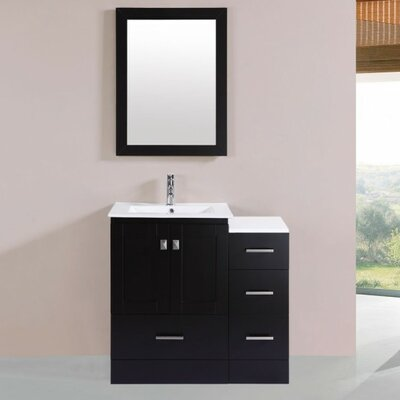 Luci Modern 6 Single Bathroom Vanity Set with Mirror Base Finish: Espresso