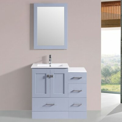 Luci Modern 6 Single Bathroom Vanity Set with Mirror Base Finish: Gray