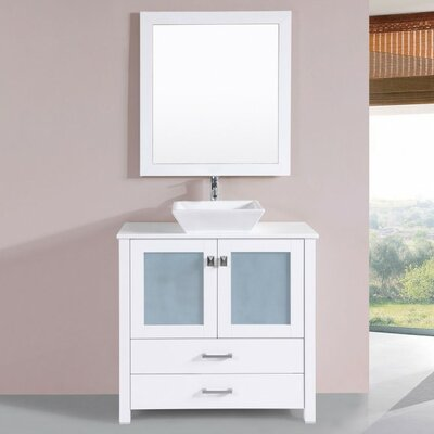 Lyn Modern 36 Single Bathroom Vanity Set with Mirror Base Finish: White
