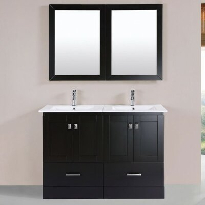 Luci Modern 48 Double Bathroom Vanity Set with Mirror Base Finish: Espresso