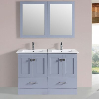 Luci Modern 48 Double Bathroom Vanity Set with Mirror Base Finish: Gray