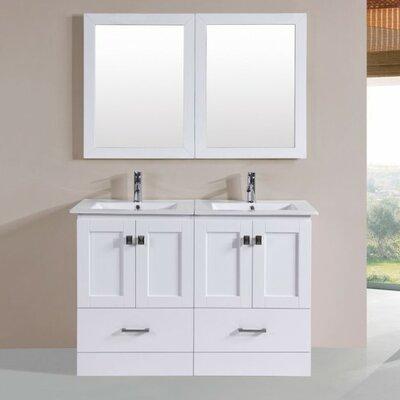 Luci Modern 48 Double Bathroom Vanity Set with Mirror Base Finish: White